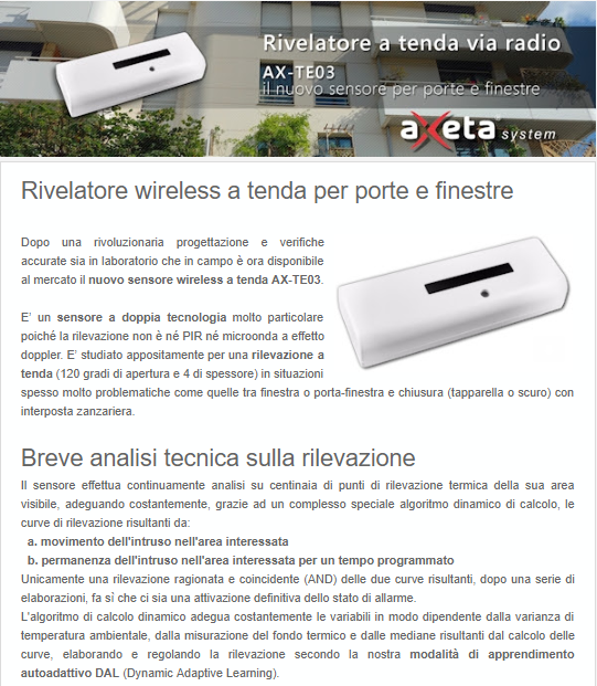 Rivelatore a tenda via radio AX TE03
